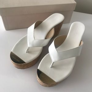 Jimmy Choo Pathos Wedge Sandals in Patent White